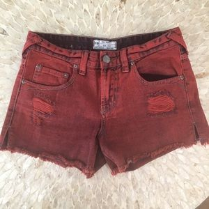 Free People Women's Red Distressed Shorts Size 25